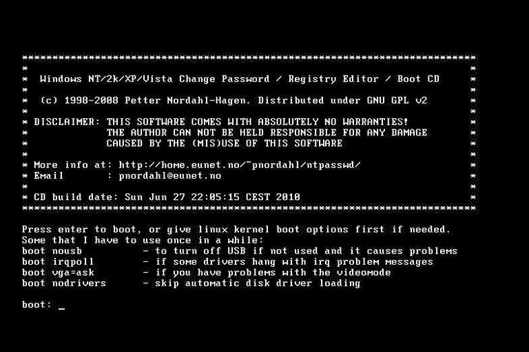 Image result for offline nt password & registry editor