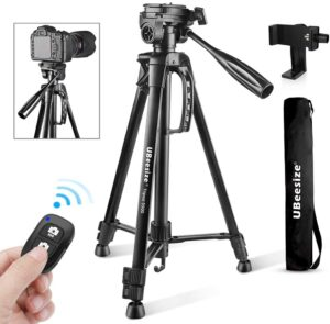 Endurax 66 Video Camera Tripod for Canon Nikon Lightweight Aluminum Travel DSLR Camera Stand with Universal Phone Mount and Carry Bag